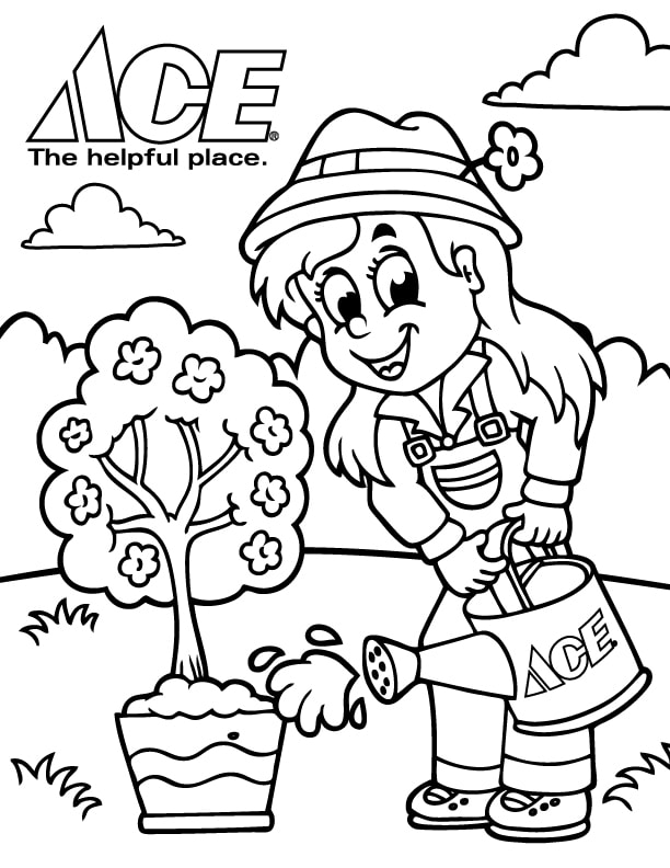 Free Earth Day Coloring Page - Ace Hardware & Rental Of Adams